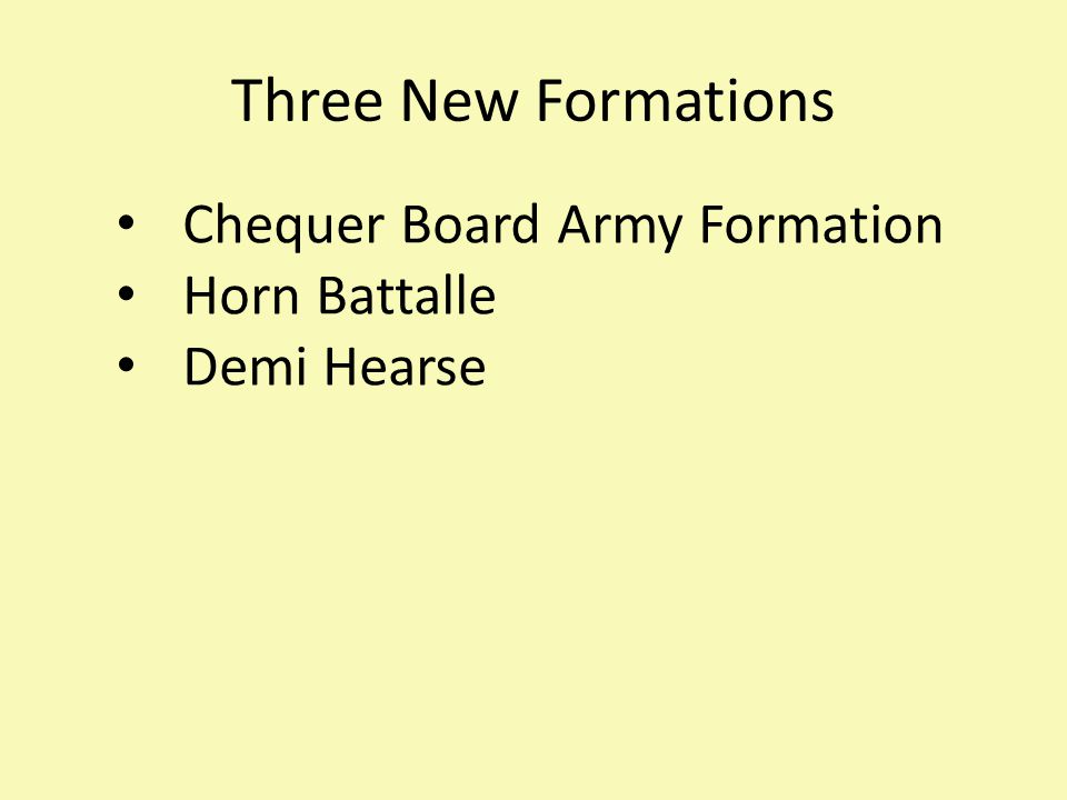 Three New Formations Chequer Board Army Formation Horn Battalle Demi Hearse