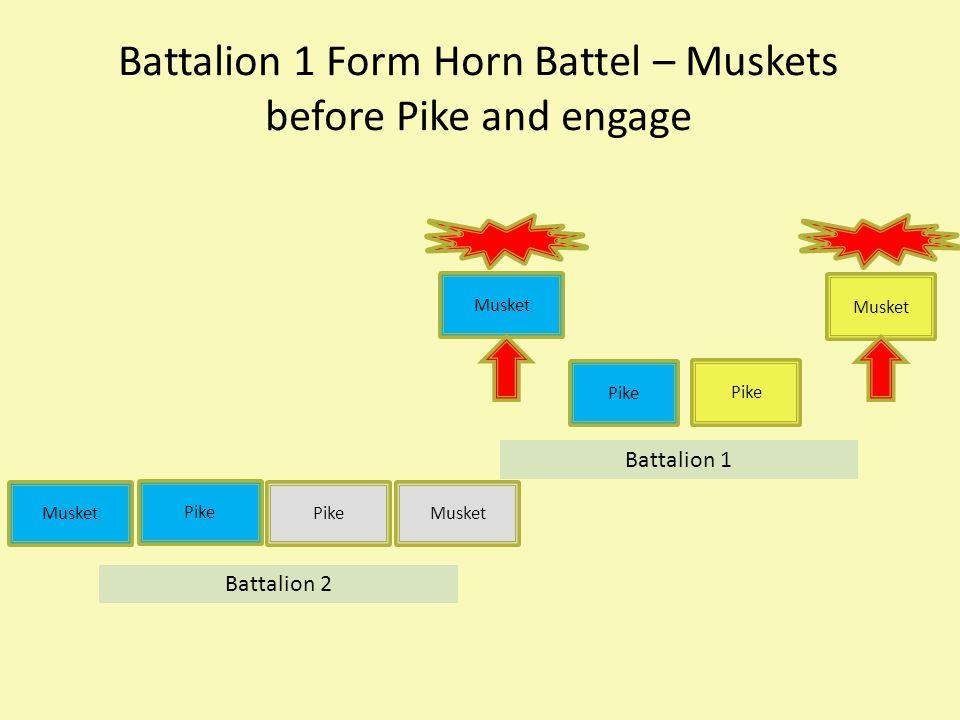 Battalion 1 Form Horn Battel – Muskets before Pike and engage Musket Pike Musket Pike Musket Battalion 1 Battalion 2