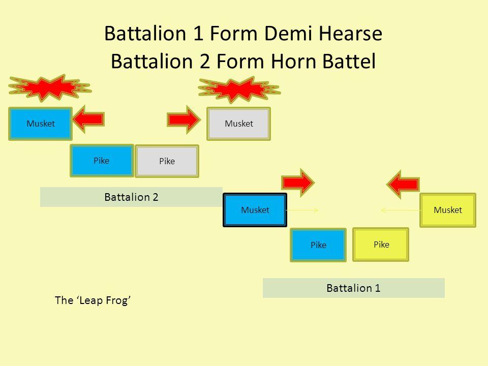 Battalion 1 Form Demi Hearse Battalion 2 Form Horn Battel Musket Pike Musket Pike Musket Battalion 1 Battalion 2 The 'Leap Frog'