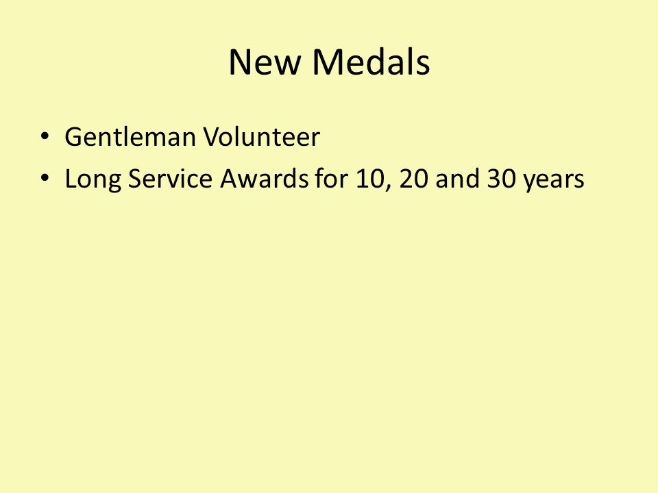 New Medals Gentleman Volunteer Long Service Awards for 10, 20 and 30 years
