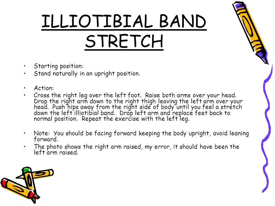 ILLIOTIBIAL BAND STRETCH Starting position: Stand naturally in an upright position.