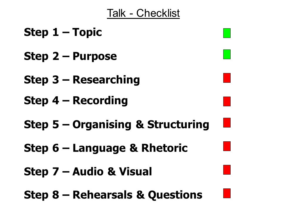 Step 1 – Topic Step 2 – Purpose Step 3 – Researching Talk - Checklist Step 4 – Recording Step 5 – Organising & Structuring Step 6 – Language & Rhetoric Step 8 – Rehearsals & Questions Step 7 – Audio & Visual