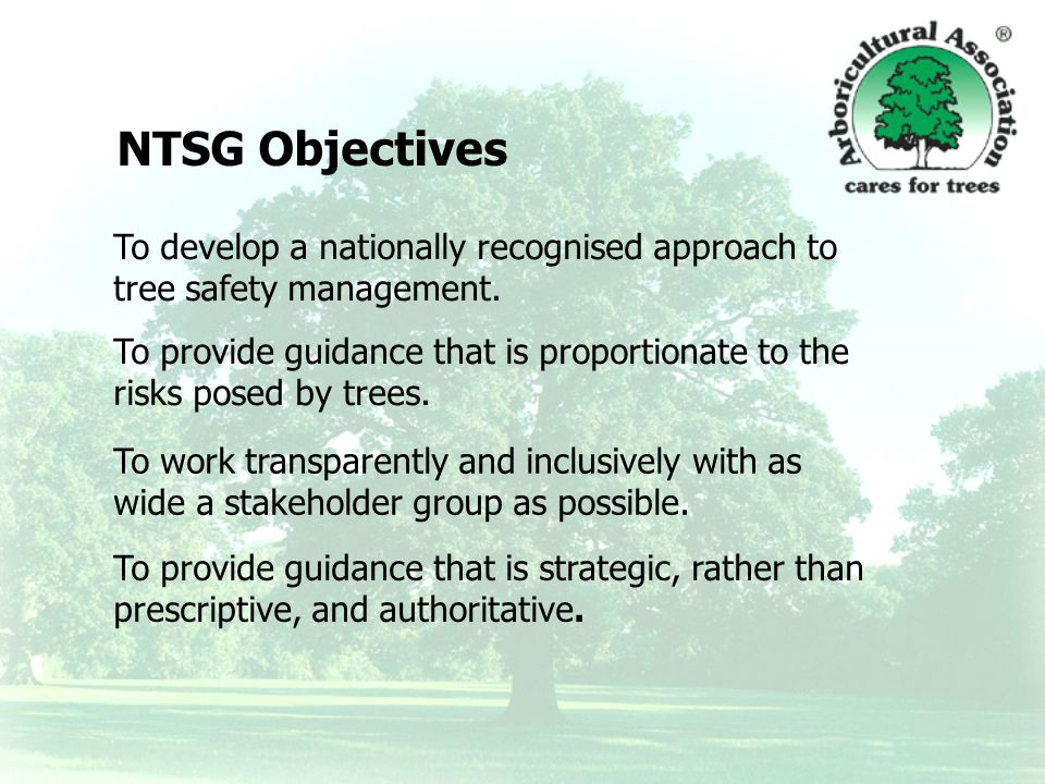 To develop a nationally recognised approach to tree safety management.