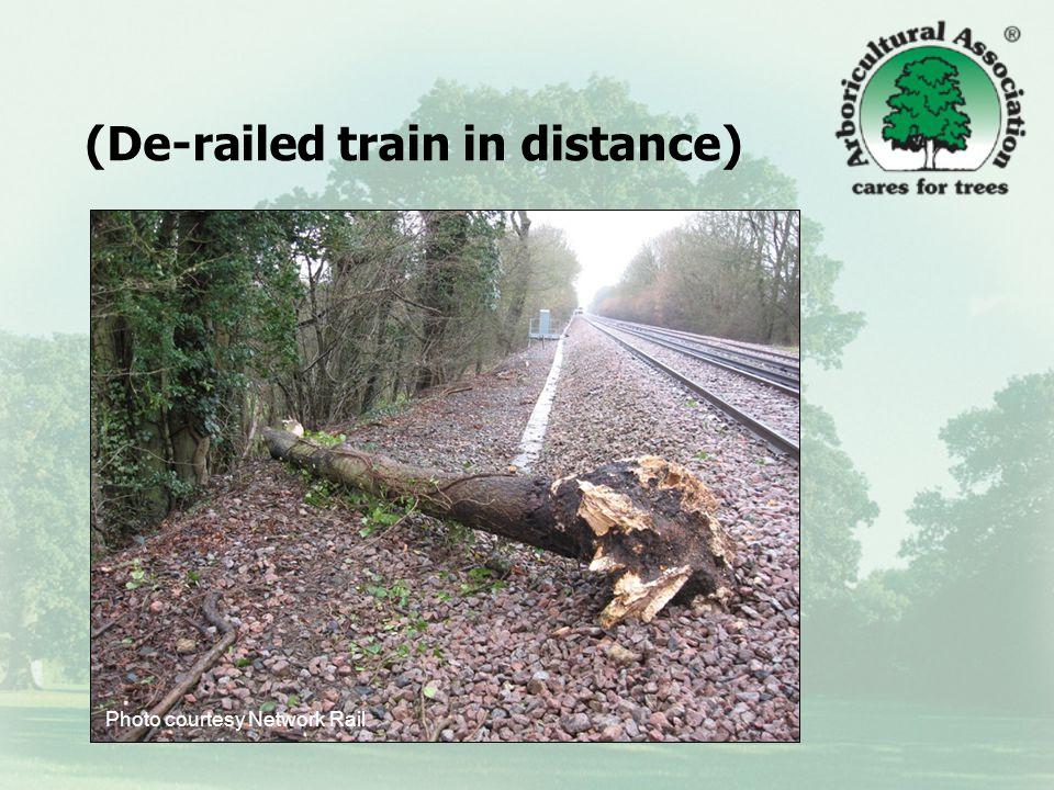 (De-railed train in distance) Photo courtesy Network Rail