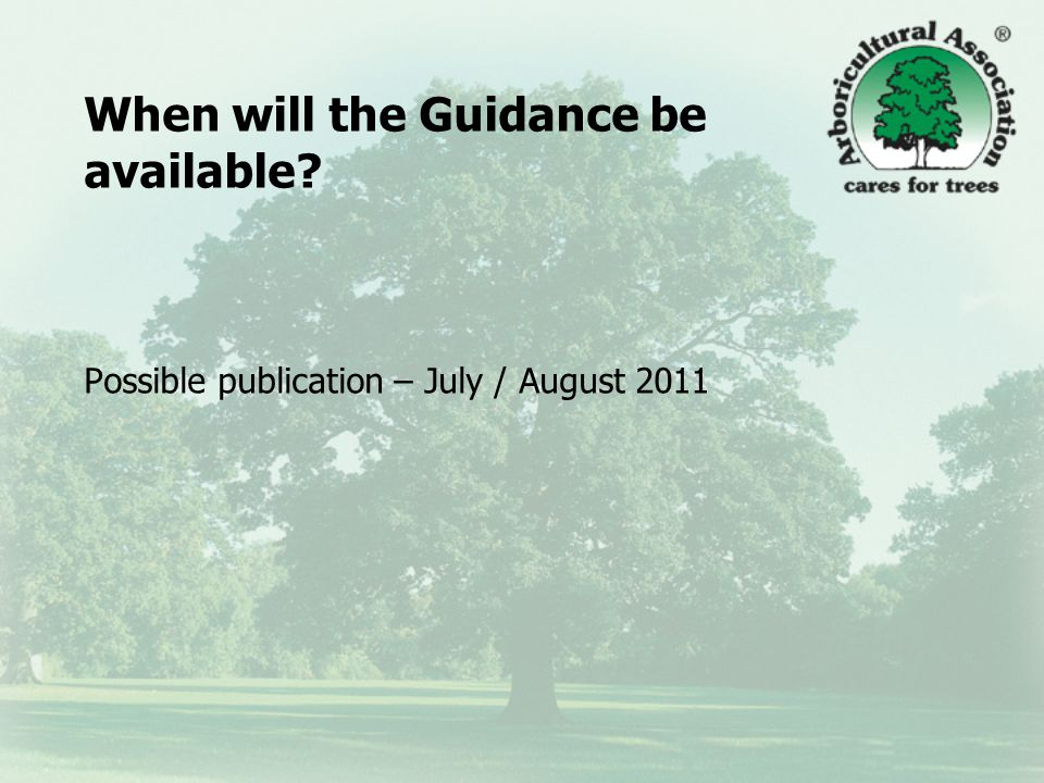 When will the Guidance be available Possible publication – July / August 2011