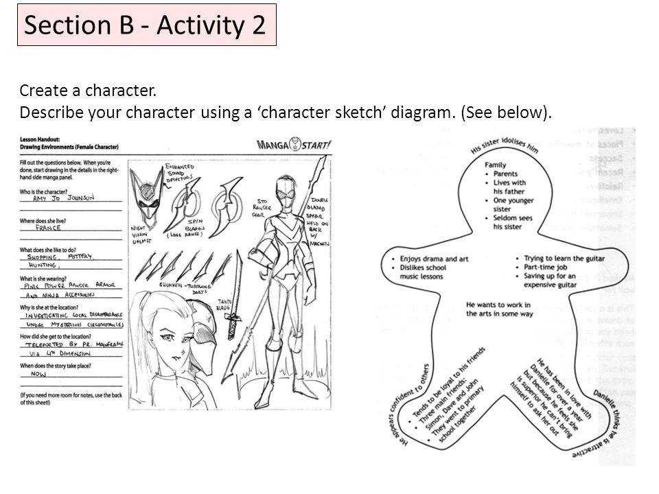 Section B - Activity 2 Create a character.
