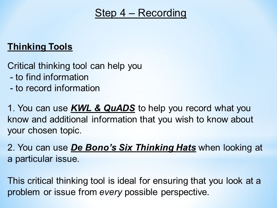 Thinking Tools 1. You can use KWL & QuADS to help you record what you know and additional information that you wish to know about your chosen topic. 2