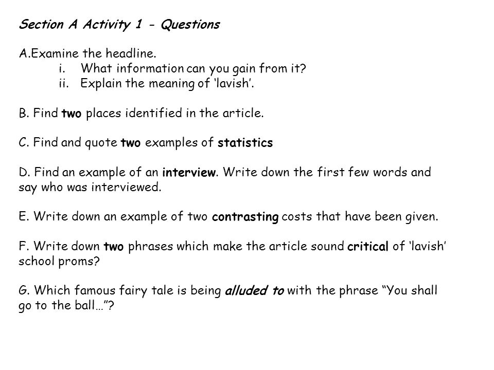 Section A Activity 1 - Questions A.Examine the headline.