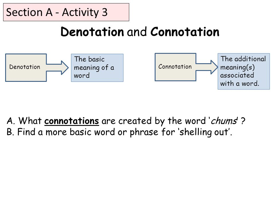 Denotation and Connotation A. What connotations are created by the word 'chums' .