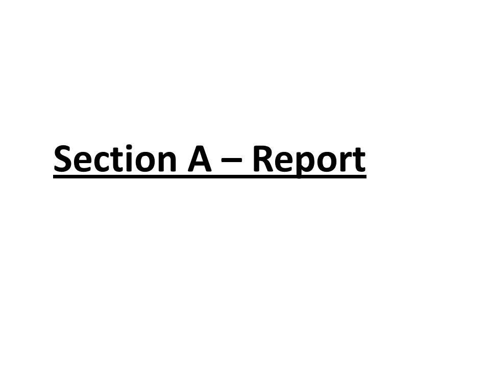 Section A – Report