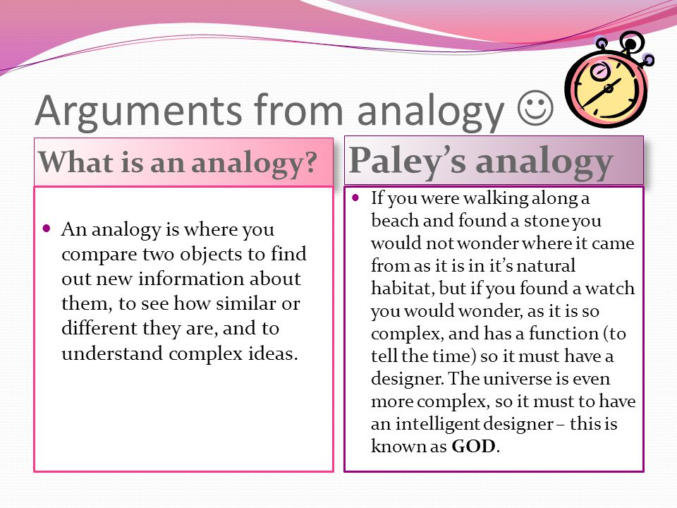 Arguments from analogy What is an analogy? Paley's analogy An analogy is where you compare two objects to find out new information about them, to see