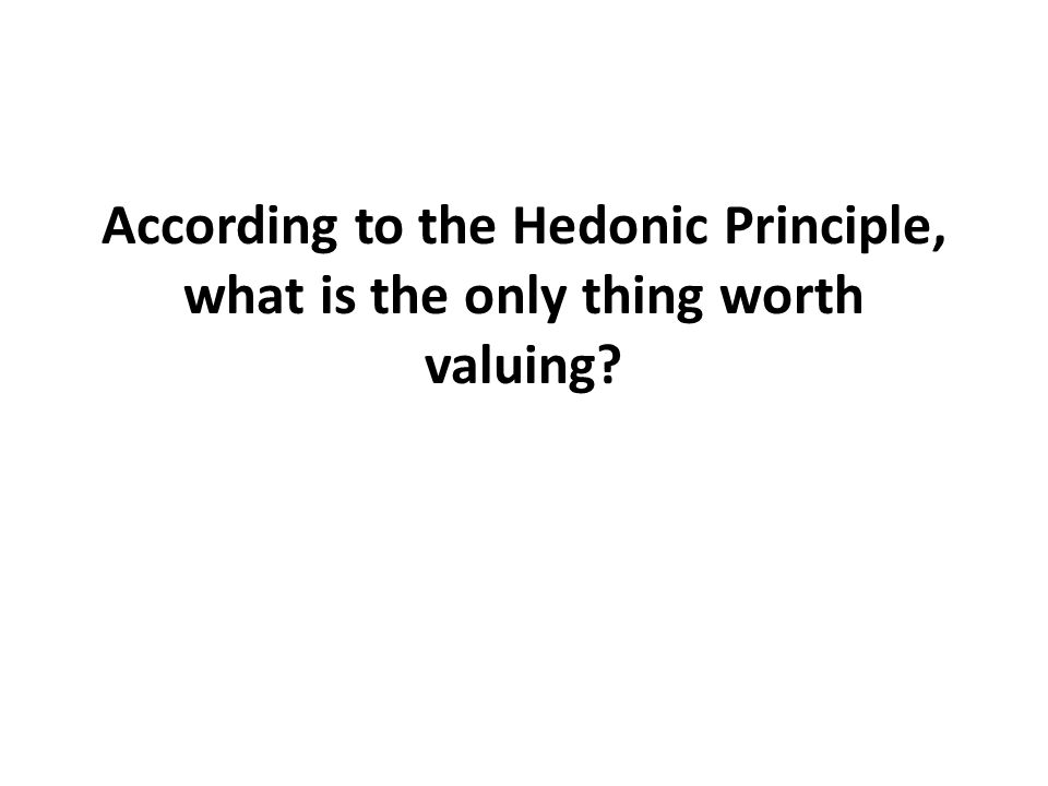 According to the Hedonic Principle, what is the only thing worth valuing?