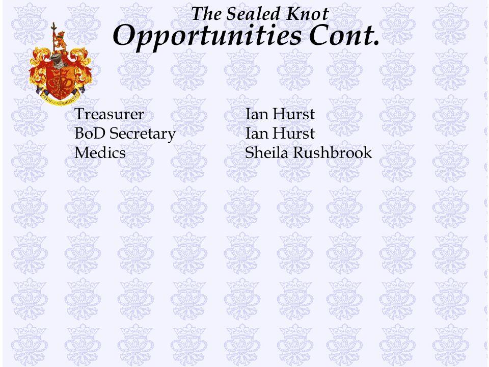 The Sealed Knot Opportunities Cont. TreasurerIan Hurst BoD SecretaryIan Hurst MedicsSheila Rushbrook