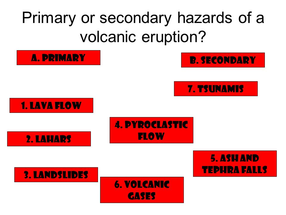 Primary or secondary hazards of a volcanic eruption…answers 1.
