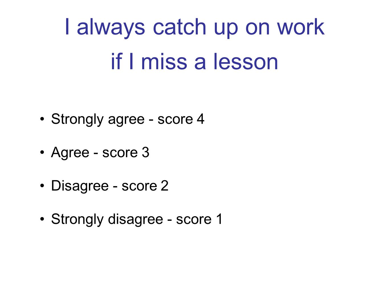 I always catch up on work if I miss a lesson Strongly agree - score 4 Agree - score 3 Disagree - score 2 Strongly disagree - score 1