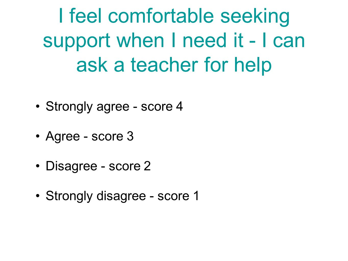 I feel comfortable seeking support when I need it - I can ask a teacher for help Strongly agree - score 4 Agree - score 3 Disagree - score 2 Strongly disagree - score 1