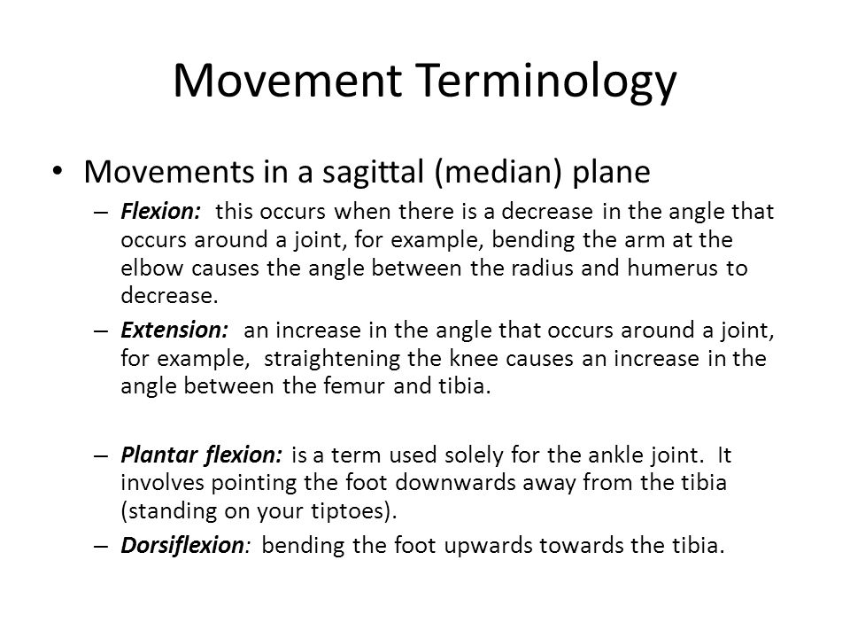 Movement Terminology Movements in a sagittal (median) plane – Flexion: this occurs when there is a decrease in the angle that occurs around a joint, f