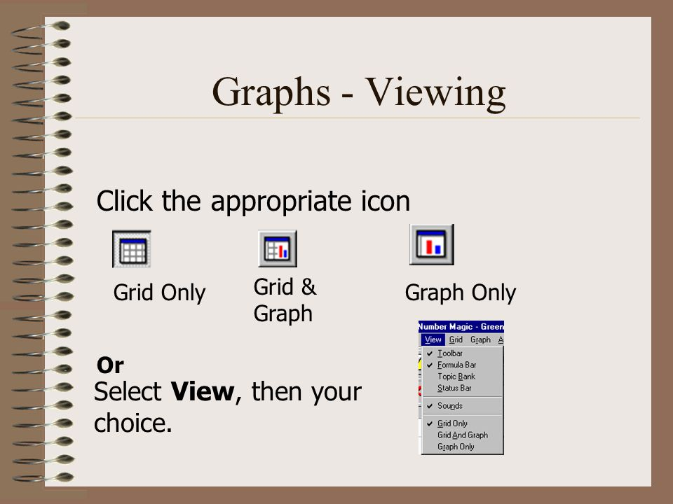 Graphs - Viewing Click the appropriate icon Or Select View, then your choice.