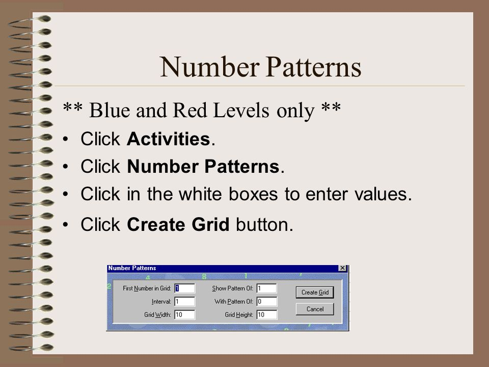 Number Patterns ** Blue and Red Levels only ** Click Activities.