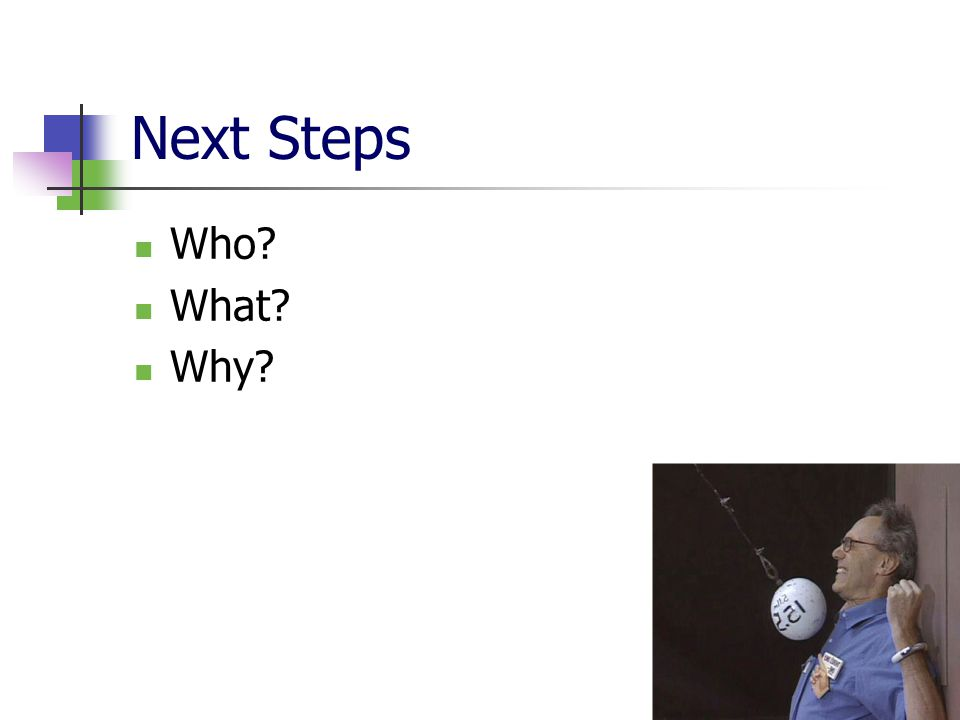 Next Steps Who What Why
