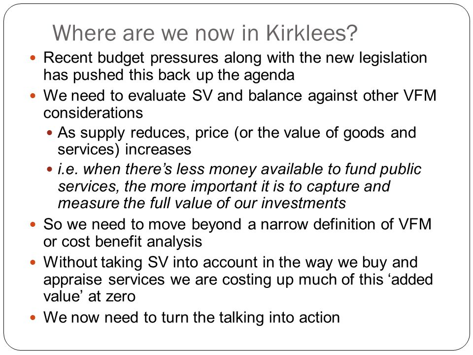Where are we now in Kirklees.
