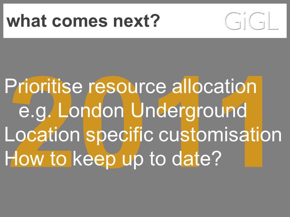 what comes next. 2011 Prioritise resource allocation e.g.