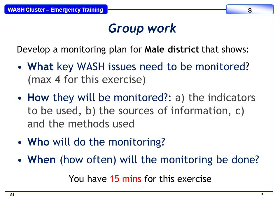 WASH Cluster – Emergency Training S Develop a monitoring plan for Male district that shows: What key WASH issues need to be monitored.