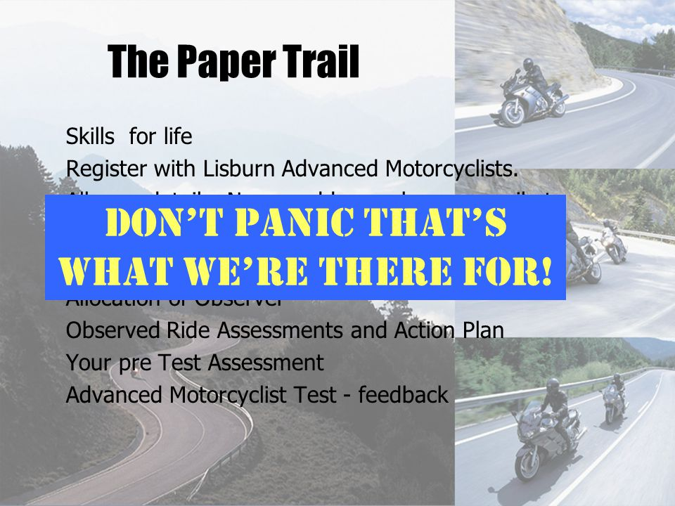 The Paper Trail Skills for life Register with Lisburn Advanced Motorcyclists.