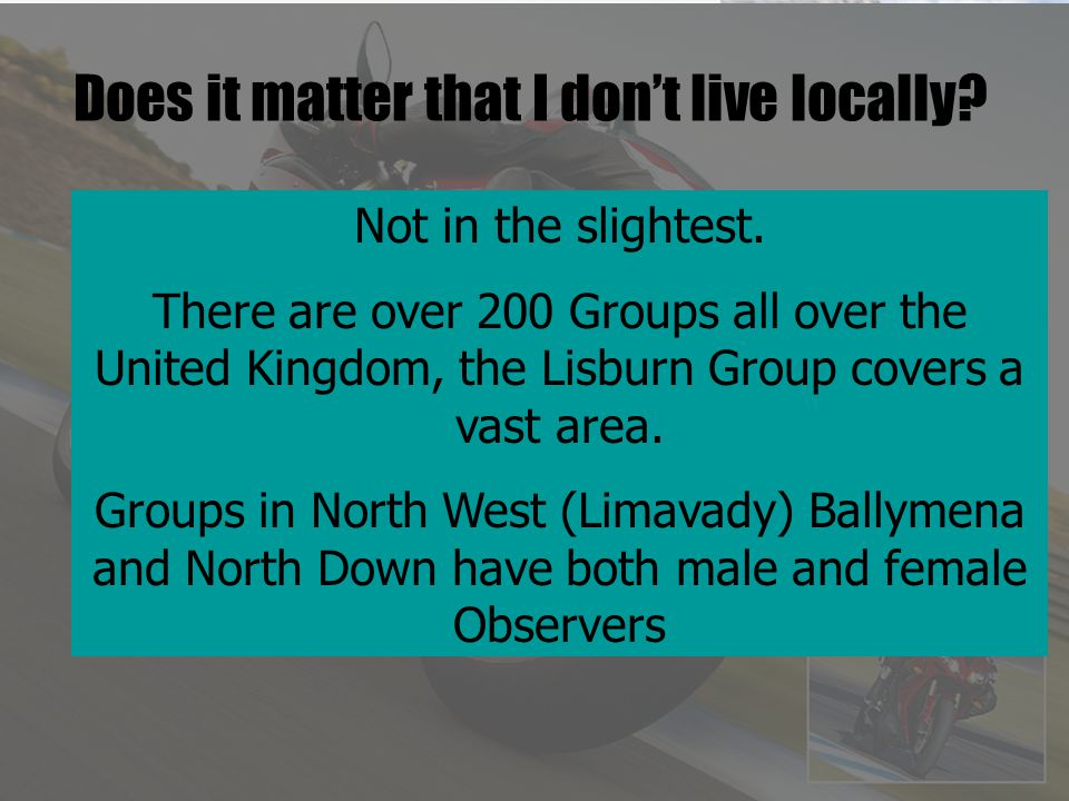 Does it matter that I don't live locally. Not in the slightest.