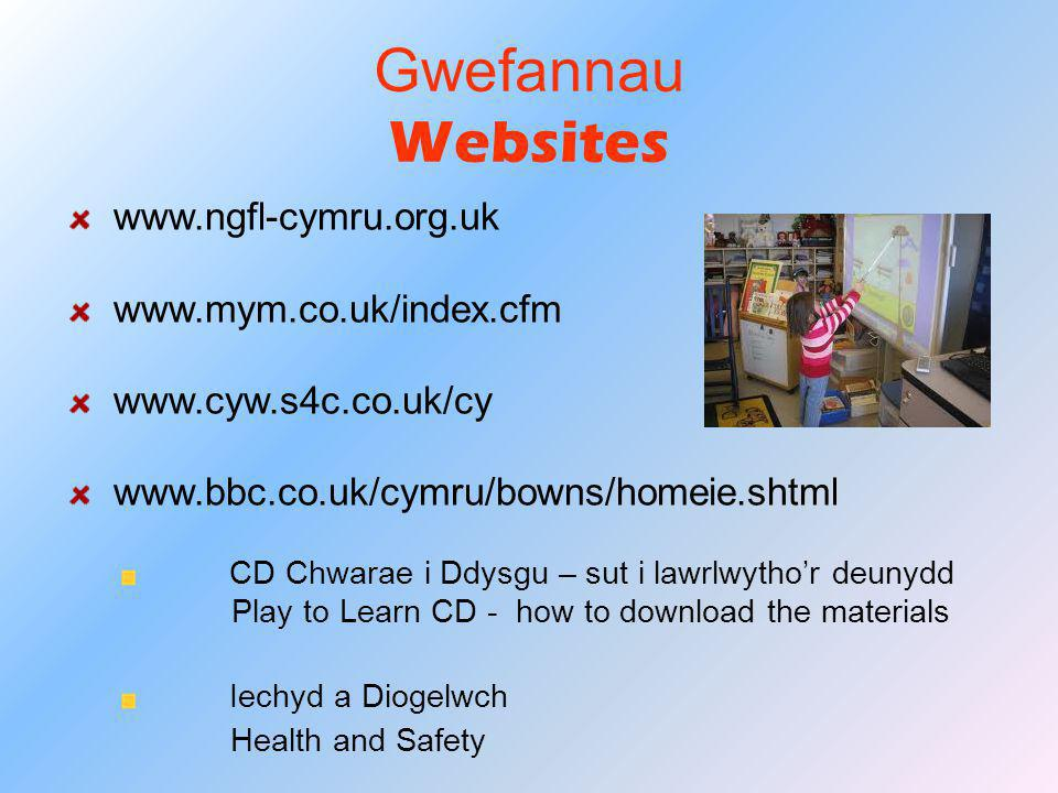 Gwefannau Websites www.ngfl-cymru.org.uk www.mym.co.uk/index.cfm www.cyw.s4c.co.uk/cy www.bbc.co.uk/cymru/bowns/homeie.shtml CD Chwarae i Ddysgu – sut i lawrlwytho'r deunydd Play to Learn CD - how to download the materials Iechyd a Diogelwch Health and Safety