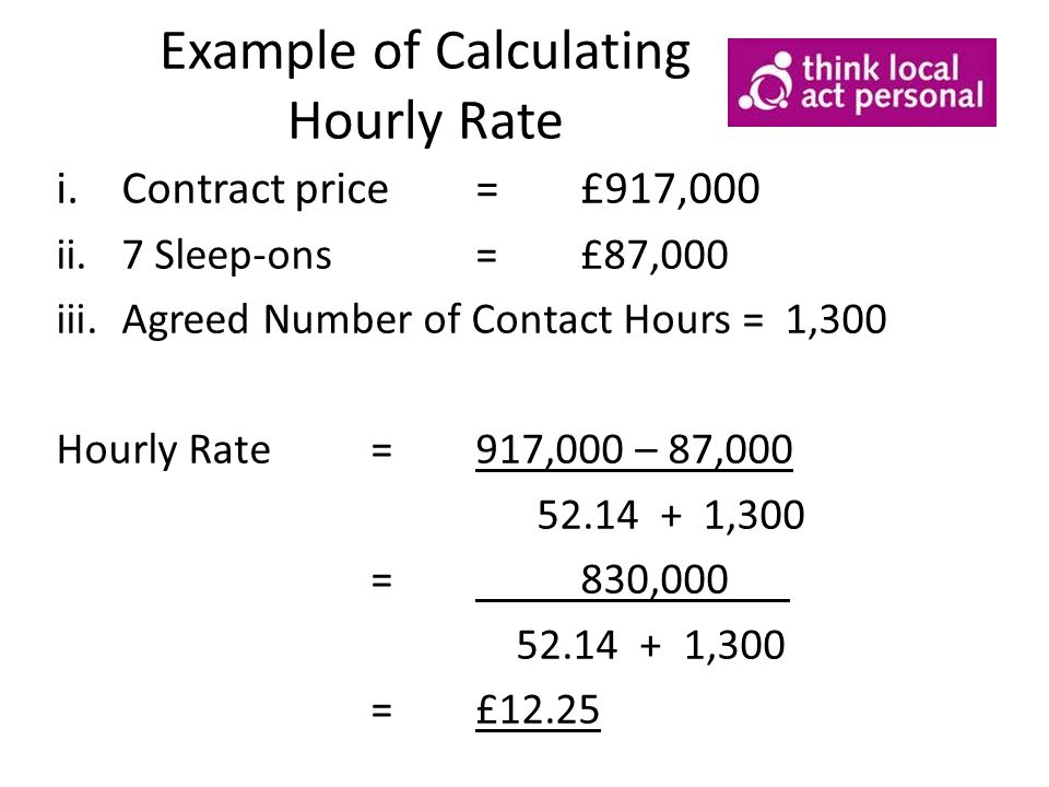 Example of Calculating Hourly Rate i.Contract price=£917,000 ii.7 Sleep-ons=£87,000 iii.Agreed Number of Contact Hours = 1,300 Hourly Rate=917,000 – 87,000 52.14 + 1,300 =830,000 52.14 + 1,300 =£12.25