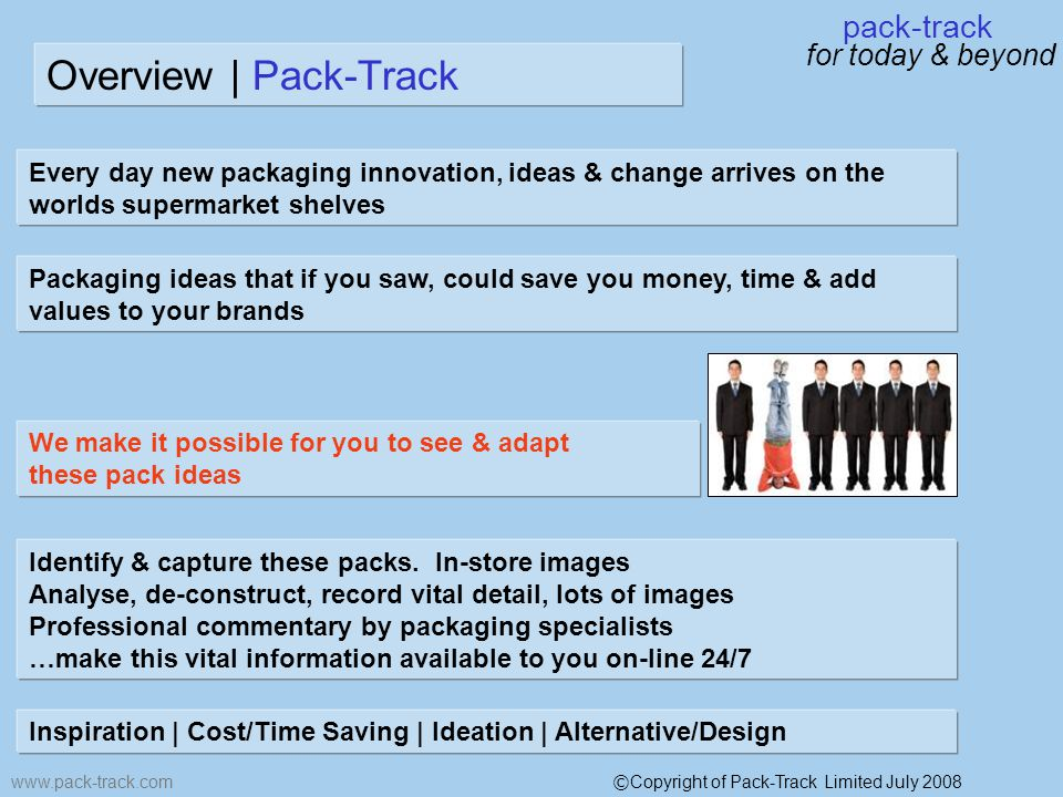 pack-track for today & beyond www.pack-track.com Overview | Pack-Track Every day new packaging innovation, ideas & change arrives on the worlds supermarket shelves Packaging ideas that if you saw, could save you money, time & add values to your brands We make it possible for you to see & adapt these pack ideas Identify & capture these packs.