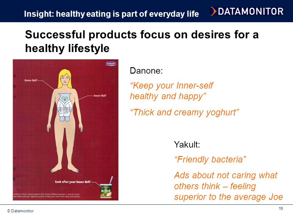 """© Datamonitor 19 Successful products focus on desires for a healthy lifestyle """"Keep your Inner-self healthy and happy"""" """"Thick and creamy yoghurt"""" Insi"""