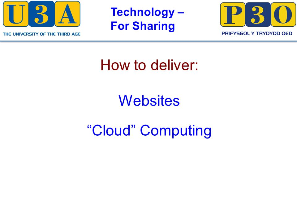 Technology – For Sharing How to deliver: Websites Cloud Computing
