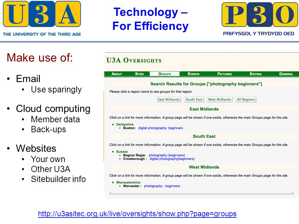 Technology – For Efficiency Make use of: Email Use sparingly Cloud computing Member data Back-ups Websites Your own Other U3A Sitebuilder info http://u3asitec.org.uk/live/oversights/show.php page=groups