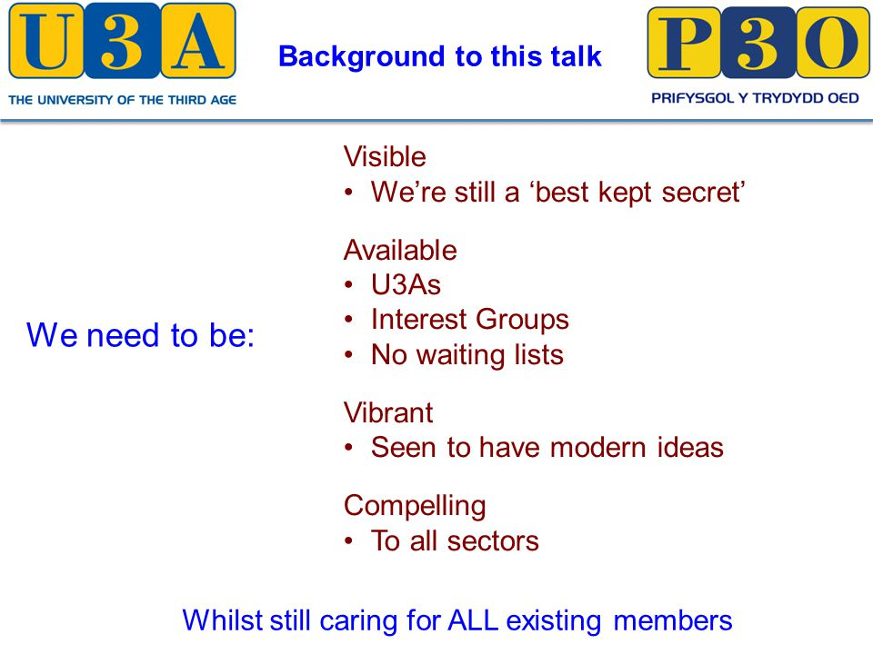 Visible We're still a 'best kept secret' Available U3As Interest Groups No waiting lists Vibrant Seen to have modern ideas Compelling To all sectors We need to be: Whilst still caring for ALL existing members