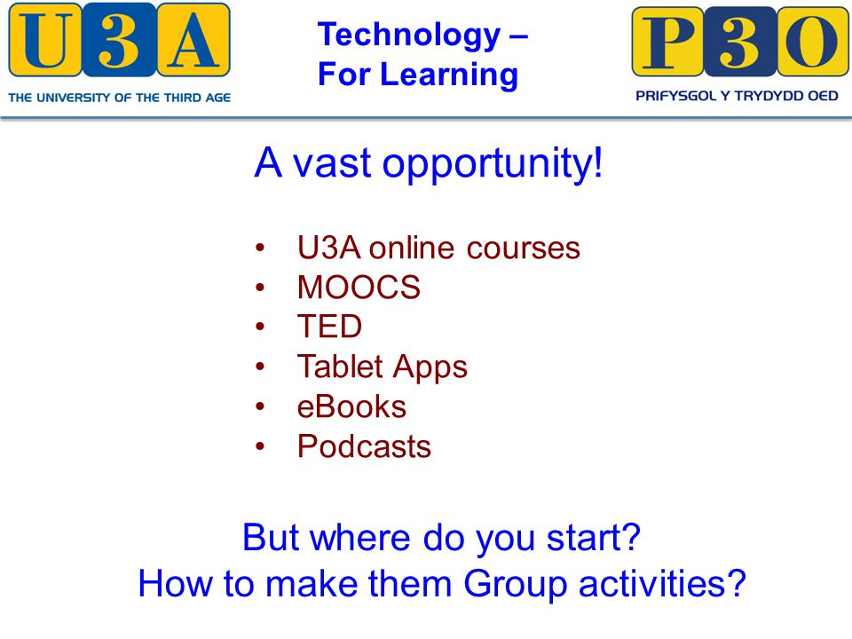 Technology – For Learning My start point: