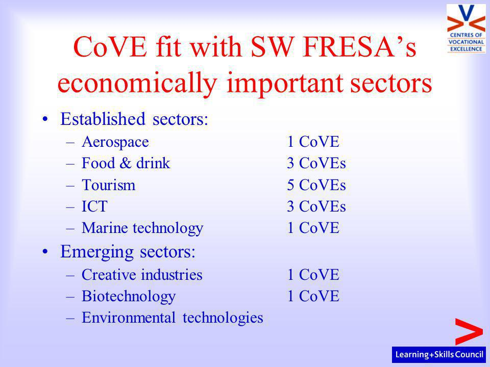 CoVE fit with SW FRESA's economically important sectors Established sectors: –Aerospace1 CoVE –Food & drink3 CoVEs –Tourism5 CoVEs –ICT 3 CoVEs –Marine technology1 CoVE Emerging sectors: –Creative industries1 CoVE –Biotechnology 1 CoVE –Environmental technologies