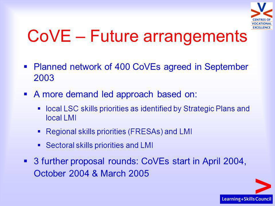 CoVE – Future arrangements  Planned network of 400 CoVEs agreed in September 2003  A more demand led approach based on:  local LSC skills priorities as identified by Strategic Plans and local LMI  Regional skills priorities (FRESAs) and LMI  Sectoral skills priorities and LMI  3 further proposal rounds: CoVEs start in April 2004, October 2004 & March 2005