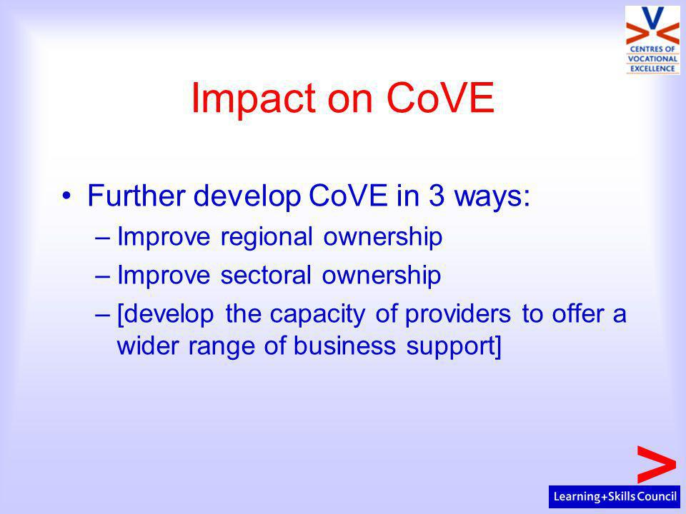 Impact on CoVE Further develop CoVE in 3 ways: –Improve regional ownership –Improve sectoral ownership –[develop the capacity of providers to offer a wider range of business support]