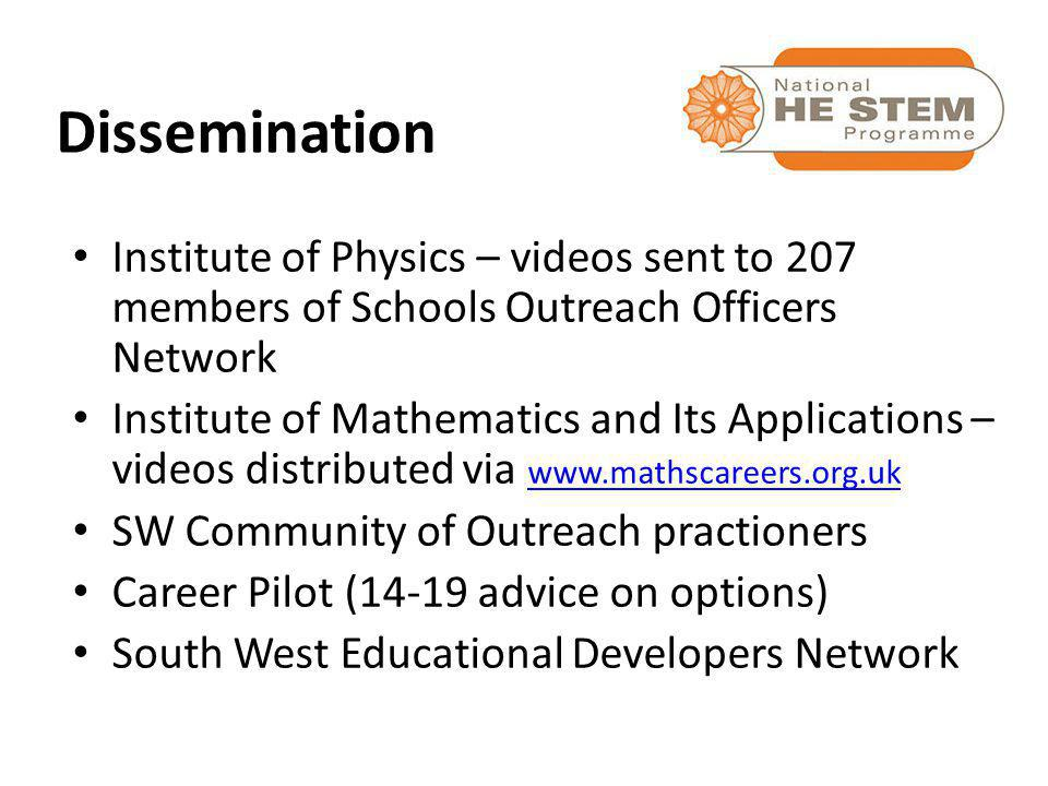 Institute of Physics – videos sent to 207 members of Schools Outreach Officers Network Institute of Mathematics and Its Applications – videos distributed via www.mathscareers.org.uk www.mathscareers.org.uk SW Community of Outreach practioners Career Pilot (14-19 advice on options) South West Educational Developers Network Dissemination