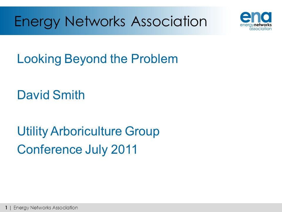 Energy Networks Association Looking Beyond the Problem David Smith Utility Arboriculture Group Conference July 2011 1 | Energy Networks Association