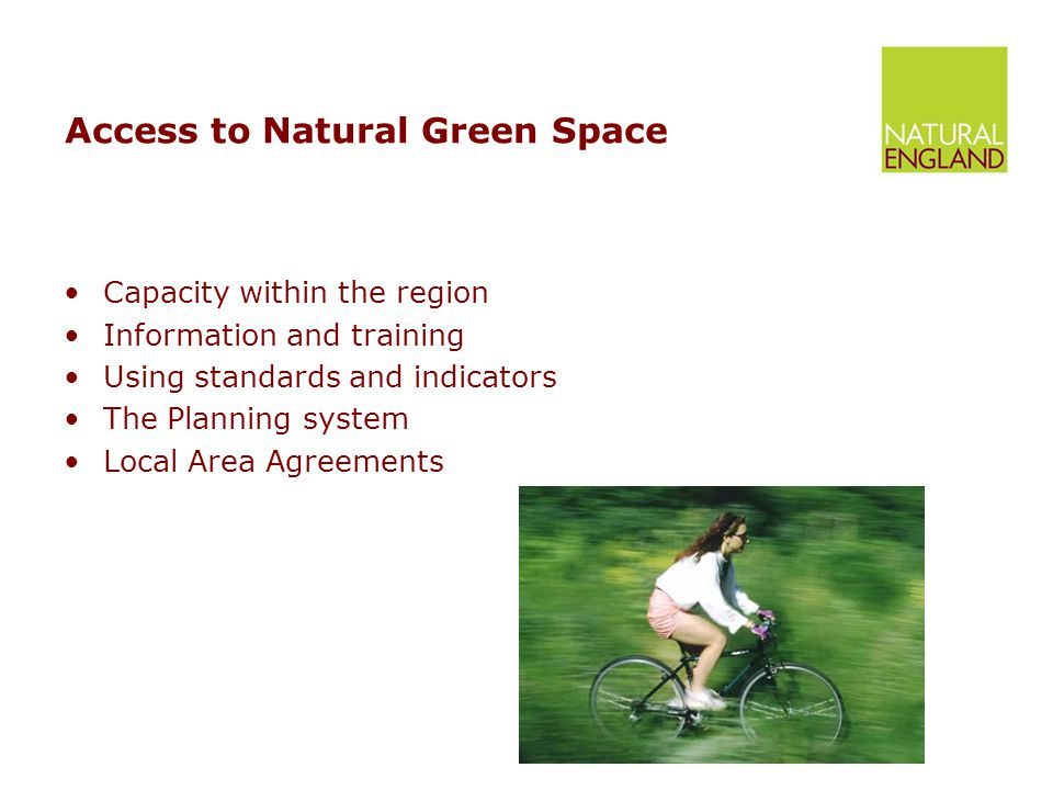Access to Natural Green Space Capacity within the region Information and training Using standards and indicators The Planning system Local Area Agreements