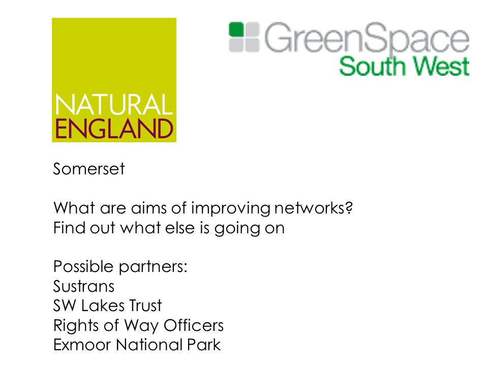 Somerset What are aims of improving networks? Find out what else is going on Possible partners: Sustrans SW Lakes Trust Rights of Way Officers Exmoor