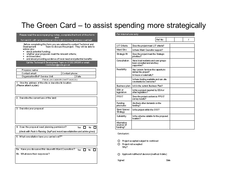 The Green Card System Green card received by Leisure Services.