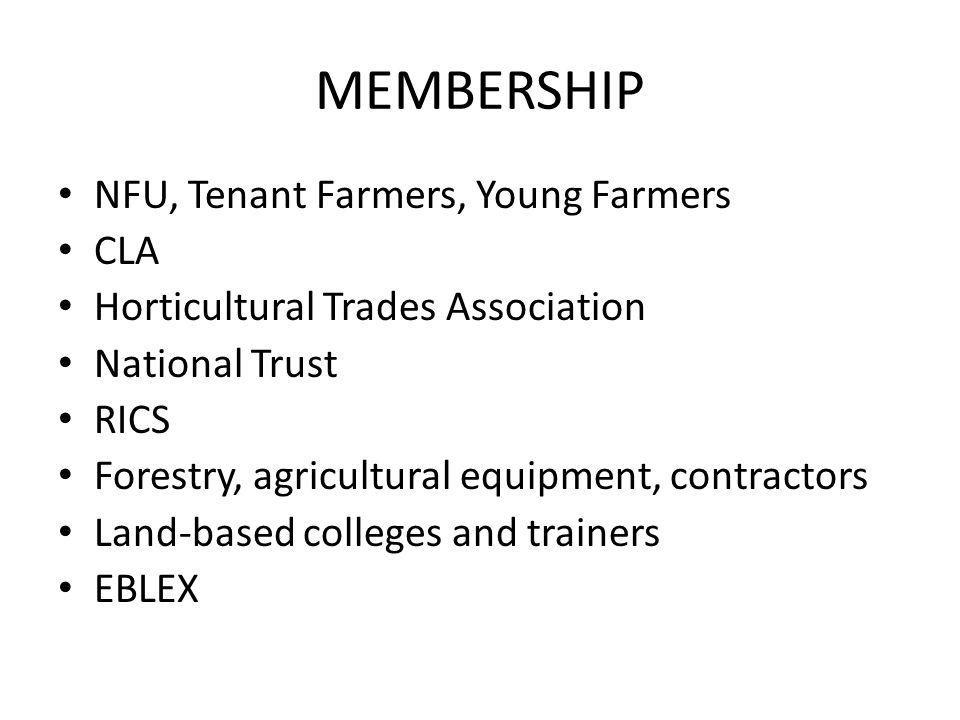 MEMBERSHIP NFU, Tenant Farmers, Young Farmers CLA Horticultural Trades Association National Trust RICS Forestry, agricultural equipment, contractors L
