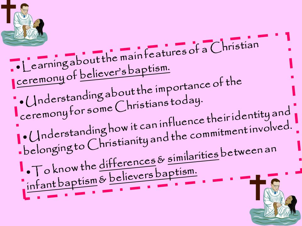 Learning about the main features of a Christian ceremony of believer's baptism.