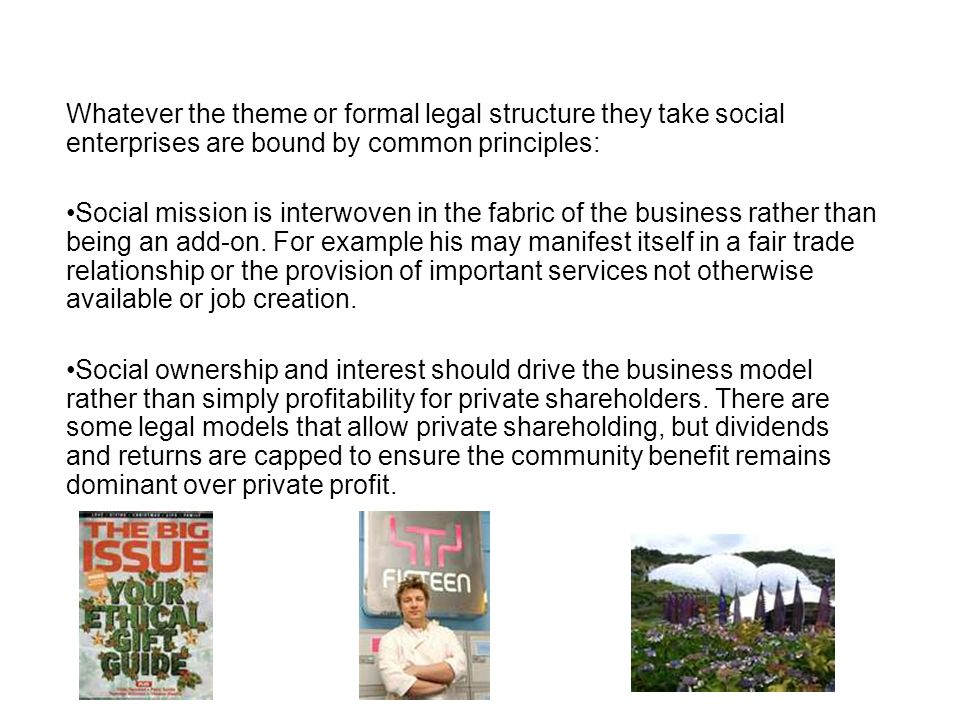 Whatever the theme or formal legal structure they take social enterprises are bound by common principles: Social mission is interwoven in the fabric o