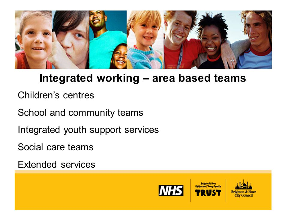 Integrated working – area based teams Children's centres School and community teams Integrated youth support services Social care teams Extended services