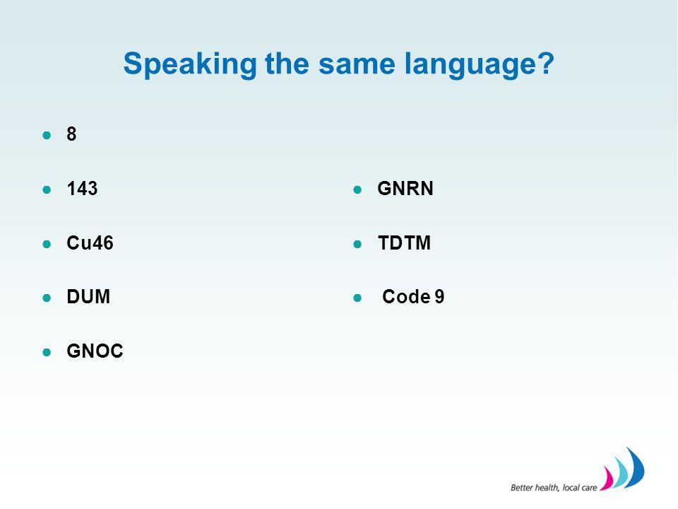 Speaking the same language? ●8 ●143 ●Cu46 ●DUM ●GNOC ●GNRN ●TDTM ● Code 9